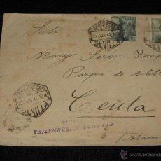 Sellos: CARTA CORREO AEREO SEVILLA CEUTA - CENSURA GUBERNATIVA - TETUAN - CEUTA - RARA. Lote 41838118