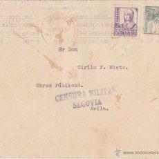 Sellos: SOBRE CIRCULADO. 1938. CENSURA MILITAR SEGOVIA. RODILLO SEGOVIA CIUDAD ROMANA.. Lote 42148916