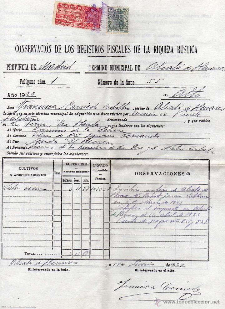 TIMBRE MUNICIPAL EXMO AYUNTAMIENTO DE ALCALÁ DE HENARES SOBRE DOCUMENTO FISCAL. (Sellos - España - Guerra Civil - Viñetas - Usados)