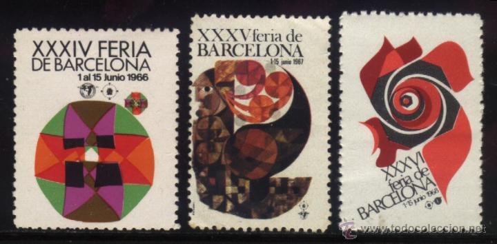 S-5258- XXXIV, XXXV Y XXXVI FERIA DE BARCELONA. 1966, 1967 Y 1968 (Sellos - España - Guerra Civil - Viñetas - Nuevos)