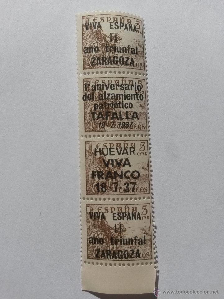 SELLO 5 CENTIMOS LOTE DE 4 SELLOS ZARAGOZA,TAFALLA,HUEVAR DE ALJARAFE,(SEVILLA) 1937 (Sellos - España - Guerra Civil - De 1.936 a 1.939 - Nuevos)