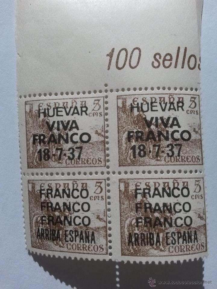 SELLO 5 CENTIMOS LOTE DE 4 SELLOS,HUEVAR DE ALJARAFE (SEVILLA) FRANCO ,FRANCO ARRIBA ESPAÑA (Sellos - España - Guerra Civil - De 1.936 a 1.939 - Nuevos)