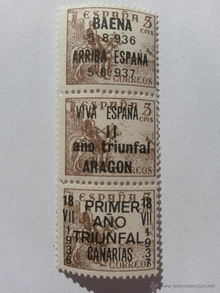 SELLO 5 CENTIMOS LOTE DE 3 SELLOS ARAGON,CANARIAS BAENA (CORDOBA) 1937 (Sellos - España - Guerra Civil - De 1.936 a 1.939 - Nuevos)