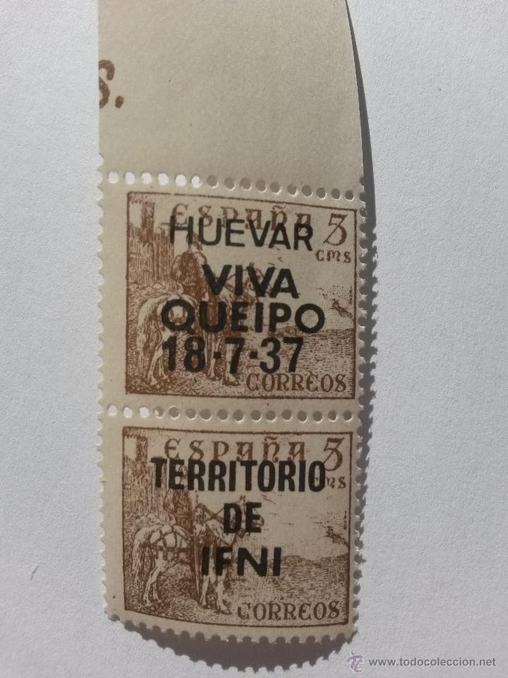 SELLO 5 CENTIMOS LOTE DE 2 SELLOS,HUEVAR DE ALJARAFE (SEVILLA) ARRIBA ESPAÑA 1937 (Sellos - España - Guerra Civil - De 1.936 a 1.939 - Nuevos)