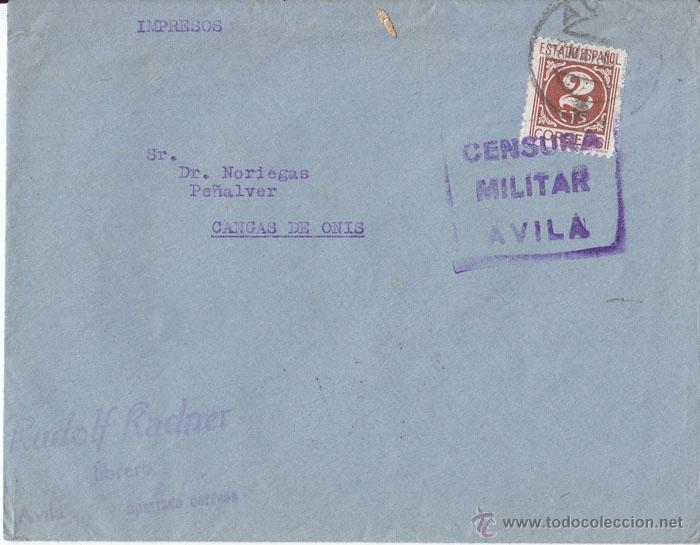 SOBRE CIRCULADO DE ÁVILA A CANGAS DE ONÍS (ASTURIAS). CENSURA MILITAR. IMPRESOS (Sellos - España - Guerra Civil - De 1.936 a 1.939 - Cartas)
