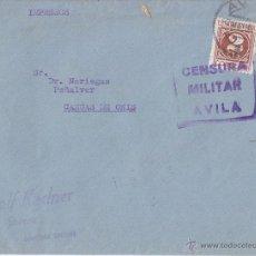 Sellos: SOBRE CIRCULADO DE ÁVILA A CANGAS DE ONÍS (ASTURIAS). CENSURA MILITAR. IMPRESOS. Lote 42913499
