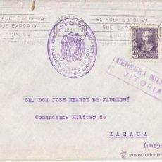 Sellos: SOBRE CIRCULADO DE VITORIA A ZARAUZ. 1939. CENSURA MILITAR. RODILLO ACEITE. PAIS VASCO.. Lote 42913643