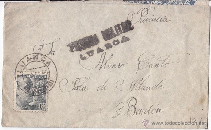 SOBRE CIRCULADO DE LURCA A ALLANDE (ASTURIAS) 1940 CENSURA MILITAR. LLEGADA BENDÓN (Sellos - España - Guerra Civil - De 1.936 a 1.939 - Cartas)