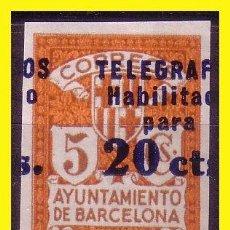 Sellos: BARCELONA, TELÉGRAFOS 1937, EDIFIL Nº 11S * * HABILITACIÓN DESPLAZADA. Lote 42951245