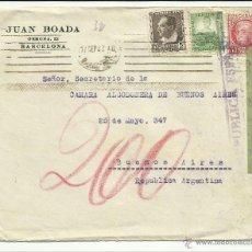 Sellos: CIRCULADA 1937 DE BARCELONA A BUENOS AIRES ARGENTINA CON CENSURA REPUBLICANA Y MATASELLO LLEGADA. Lote 43022710