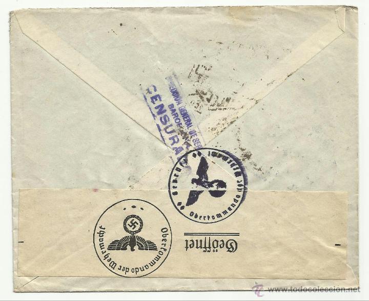 CIRCULADA 1941 DE BARCELONA A ALEMANIA CENSURA DIRECCION GENERAL DE SEGURIDAD Y MARCAS NAZIS (Sellos - España - Guerra Civil - De 1.936 a 1.939 - Cartas)