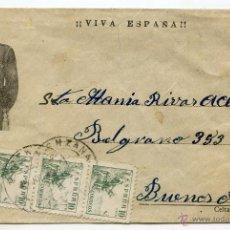 Sellos: CARTA PATRIÓTICA, FRANCO, DE LORENZANA A BUENOS AIRES, JULIO 1938, CENSURA MILITAR. CELTA - LUGO. Lote 43024343