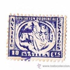 Sellos: SELLO AUXILIO DESVALIDOS DIPUTACIÓN PROVINCIAL DE SEVILLA AZUL 10 CÉNTIMOS TIMBRE FISCAL POLIZA. Lote 43319601