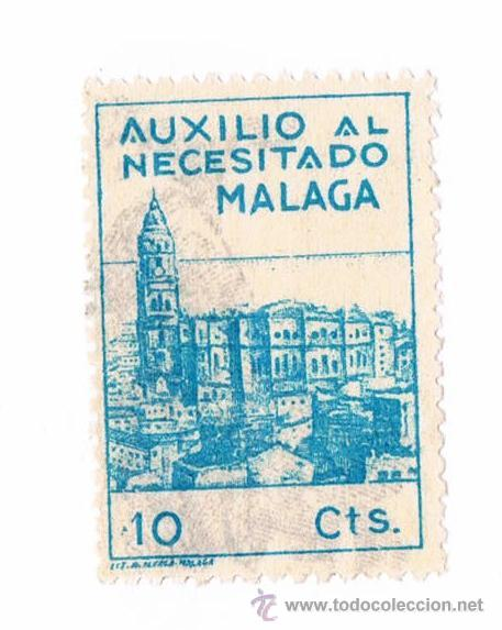 SELLO AUXILIO AL NECESITADO MALAGA 10 CENTIMOS AZUL TIMBRE FISCAL POLIZA (Sellos - España - Guerra Civil - De 1.936 a 1.939 - Usados)