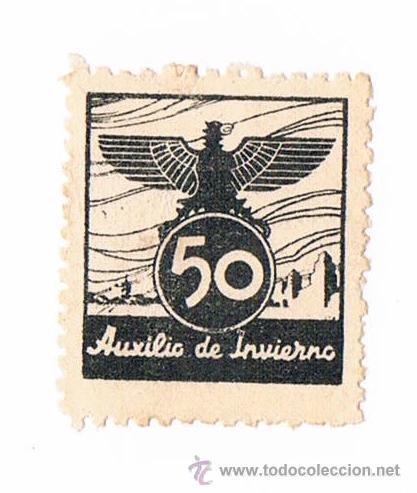 SELLO AUXILIO DE INVIERNO NEGRO AGUILA TIMBRE FISCAL POLIZA (Sellos - España - Guerra Civil - De 1.936 a 1.939 - Usados)