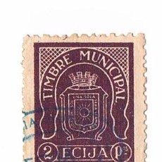 Sellos: SELLO TIMBRE MUNICIPAL ECIJA MORADO 2 PESETAS TIMBRE FISCAL POLIZA. Lote 43319791