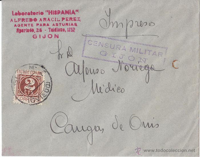 SOBRE CENSURA MILITAR GIJÓN (ASTURIAS). 1939. 2 CÉNTIMOS. IMPRESOS. (Sellos - España - Guerra Civil - De 1.936 a 1.939 - Cartas)