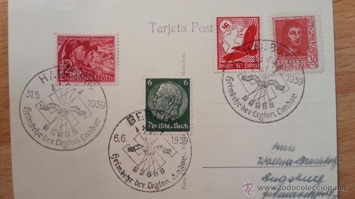 FRANQUEO MIXTO, MATASELLOS REGRESO LEGIÓN CÓNDOR BERLIN Y HAMBURGO, FERNANDO EL CATÓLICO, TENERIFE (Sellos - España - Guerra Civil - De 1.936 a 1.939 - Cartas)