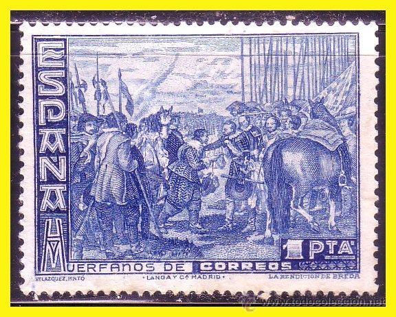 BENEFICENCIA HUÉRFANOS DE CORREOS 1938 CUADROS DE VELÁZQUEZ EDIFIL Nº SH 34 (*) 1 PTA AZUL (Sellos - España - Guerra Civil - Beneficencia)