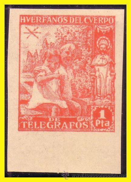 BENEFICENCIA HUÉRFANOS DE TELÉGRAFOS 1938 NIÑOS Y SANTIAGO APÓSTOL EDIFIL Nº 20S * * LUJO (Sellos - España - Guerra Civil - Beneficencia)