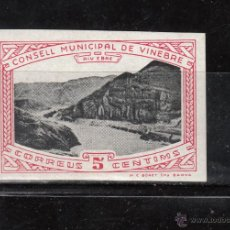 Sellos: CONSELL MUNICIPAL DE VINEBRE. 5 CENTIMS. RIU EBRE. Lote 43832740