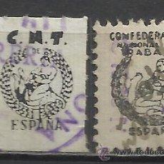 Sellos: 78-2 SELLOS VIÑETAS DIFERENTES C.N.T.FORMATO LETRAS,DISEÑO.ESPAÑA GUERRA CIVIL.SINDICATO CENTRAL NAC. Lote 43893134