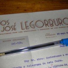 Sellos: HIJOS DE JOSE LEGORBURO, INDUSTRIAS INCAUTADAS POR LOS EMPLEADOS, UGT CNT. ALBACETE 1938.. Lote 43951276