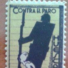 Sellos: DOS VIÑETAS CONTRA EL PARO - HUESCA. Lote 44103596