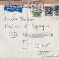 Sellos: SOBRE VALENCIA CORREO AÉREO A FRANCIA. CENSURA REPÚBLICA. PAREJA DE VELÁZQUEZ Y MARIANA. 1937. Lote 44301480