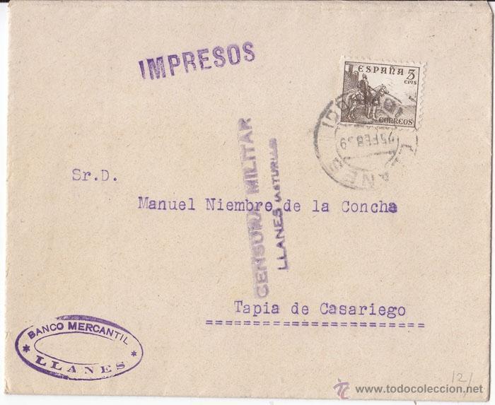 SOBRE CENSURA MILITAR LLANES (ASTURIAS). IMPRESOS. 1939. (Sellos - España - Guerra Civil - De 1.936 a 1.939 - Cartas)