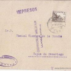Sellos: SOBRE CENSURA MILITAR LLANES (ASTURIAS). IMPRESOS. 1939.. Lote 44301867