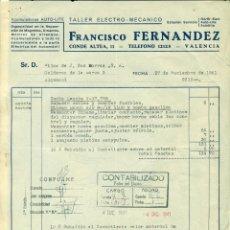 Sellos: *** DOCUMENTO 1941 TALLER FCO. FERNANDEZ (VALENCIA) CUPONES SUBSIDIO AL COMBATIENTE SERIE 1-4-41 ***. Lote 44348611