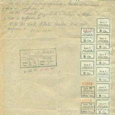 Sellos: *** DOCUMENTO 1941 TALLER FCO. FERNANDEZ (VALENCIA) CUPONES SUBSIDIO AL COMBATIENTE SERIE 1-99 ***. Lote 44348672