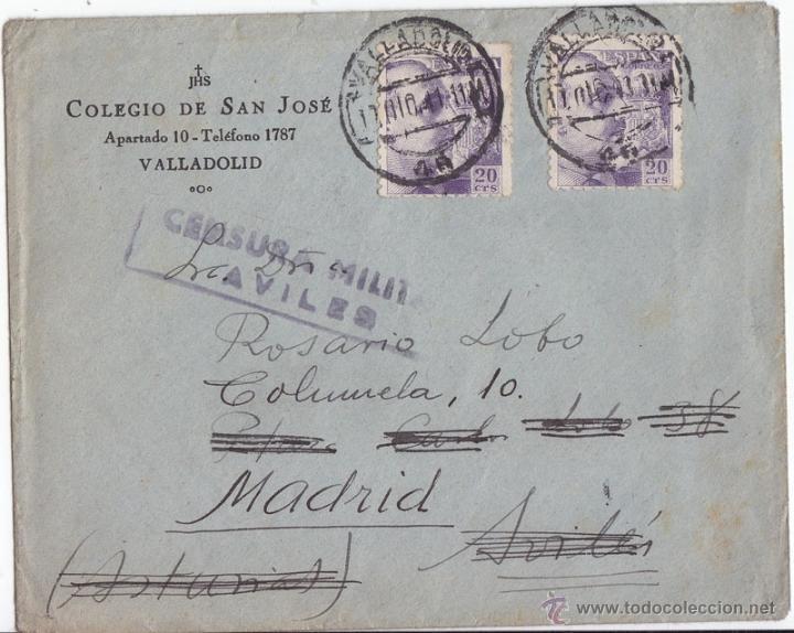 SOBRE CON CENSURA MILITAR DE AVILÉS (ASTURIAS). 1941. FRANCO DE PERFIL. (Sellos - España - Guerra Civil - De 1.936 a 1.939 - Cartas)