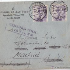 Sellos: SOBRE CON CENSURA MILITAR DE AVILÉS (ASTURIAS). 1941. FRANCO DE PERFIL.. Lote 44686265