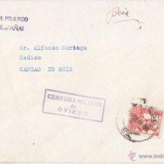 Sellos: SOBRE DE OVIEDO A CANGAS DE ONÍS (ASTURIAS). CENSURA MILITAR. ISABEL LA CATÓLICA. 30 CTS.. Lote 44699907