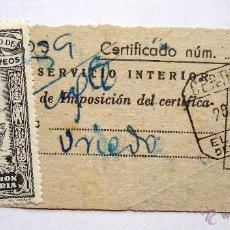 Sellos: SELLO MUTUALIDAD DE CORREOS APORTACIÓN VOLUNTARIA. 10 CTS. CERTIFICADO EN EL FERROL DEL CAUDILLO.. Lote 44817434