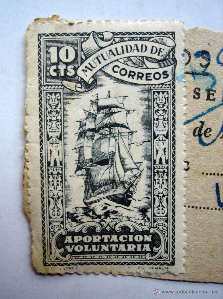 Sellos: Sello Mutualidad de Correos aportación voluntaria. 10 cts. certificado en El Ferrol del Caudillo. - Foto 2 - 44817434