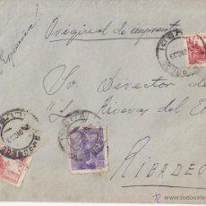Sellos: SOBRE DE MONDOÑEDO (LUGO) AL DIRECTOR DE LAS RIBERAS DEL EO (RIBADEO). 1939. ORIGINAL DE IMPRENTA.. Lote 44853230