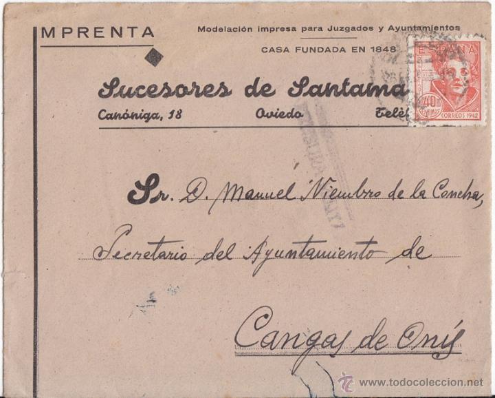SOBRE OVIEDO (ASTURIAS). EDIFIL 955. CENSURA MILITAR. A CANGAS DE ONÍS. (Sellos - España - Guerra Civil - De 1.936 a 1.939 - Cartas)