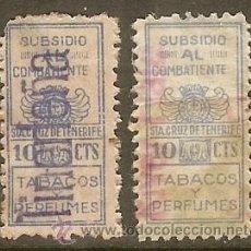 Sellos: TENERIFE. IMPUESTO TABACO Y PERFUMES. SUBSIDIO COMBATIENTES 1936. Lote 44973385