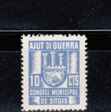 Sellos: CONSELL MUNICIPAL DE SITGES. AJUT DE GUERRA. 10 CTS.. Lote 45056121