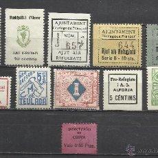 Sellos: 2311-LOTE SELLOS LOCALES ESPAÑA GUERRA CIVIL,VIÑETAS AYUDA REFUGIADOS,CHIVA MONTEPIO VALENCIA MUY RA. Lote 45292068