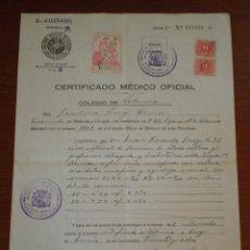 Sellos: 1938 VALENCIA. CERTIFICADO MEDICO 2 SELLOS FISCALES 60 CTS RECARGO TRANSITORIO. GUERRA CIVIL. Lote 45375559