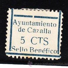 Sellos: ,,LOCAL NACIONALISTA CAZALLA (SEVILLA) 209 CON CHARNELA, VDAD -T- CORTADA DE CTS.. Lote 45522654