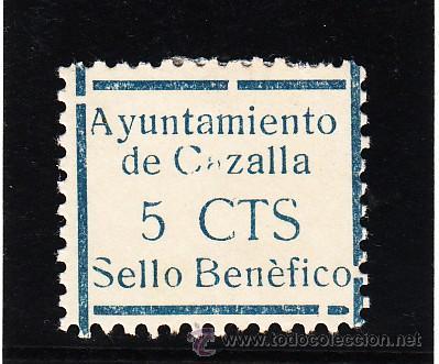 ,,LOCAL NACIONALISTA CAZALLA (SEVILLA) 209 CON CHARNELA, VDAD ACENTO GRAVE EN BENEFICO Y 1ª A DE CAZ (Sellos - España - Guerra Civil - Locales - Usados)