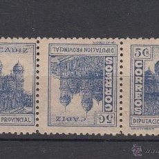 Sellos: ,,LOCAL NACIONALISTA CADIZ 165T TRIO CON CHARNELA, . Lote 45582274