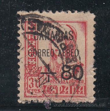 ,,CANARIAS 28 USADA, SOBRECARGADO, (Sellos - España - Guerra Civil - Beneficencia)