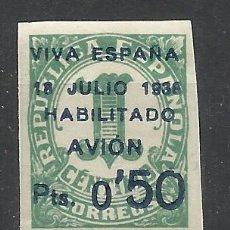Sellos: CANARIAS 1936 EDIFIL 1 NUEVO** VIVA ESPAÑA HABILITADO AVION VALOR 2014 CATALOGO 30.50 EUROS. Lote 45696723