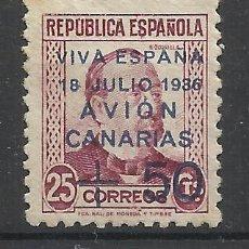 Sellos: CANARIAS 1936 EDIFIL 14 NUEVO(*) SIN GOMA VIVA ESPAÑA AVION VALOR 2014 CATALOGO 39.-- EUROS. Lote 45696811